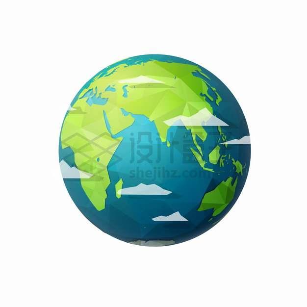 低面建模LOW-POLY风格地球模型png图片素材