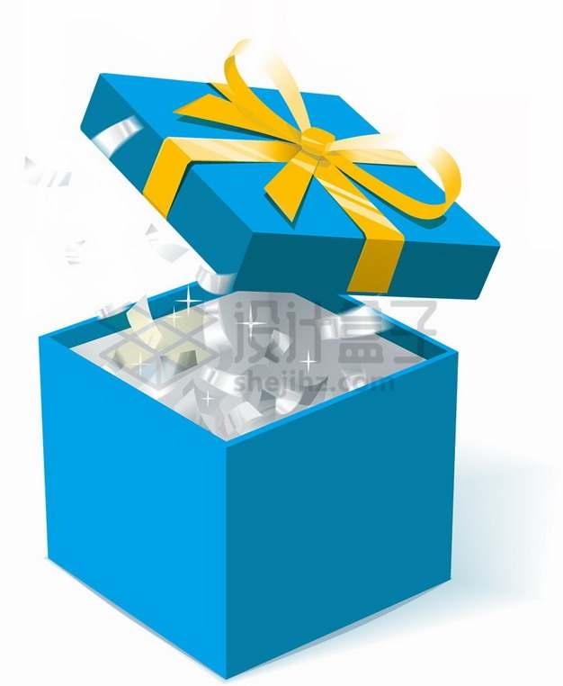 打开的蓝色礼物盒礼品盒png图片素材