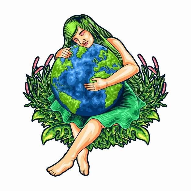 女神抱着地球彩绘插画png图片素材