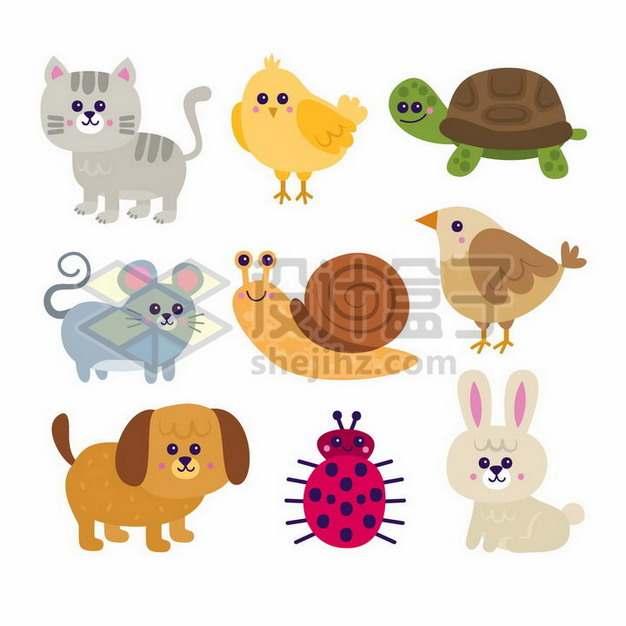 可爱猫咪小鸡乌龟老鼠蜗牛小鸟小狗瓢虫兔子等卡通动物儿童插画png图片素材