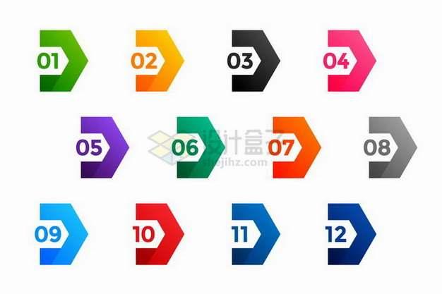 彩色标签数字序号PPT信息图表png图片素材