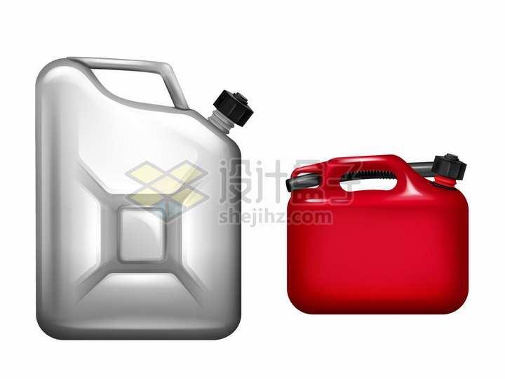 银色和红色的汽油桶png图片素材