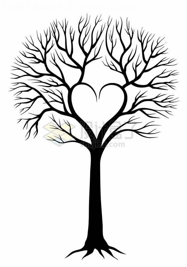 黑色大树组成心形图案png免抠图片素材