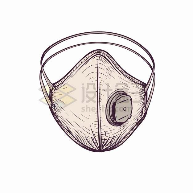 N95医用口罩医疗用品手绘插画png图片素材