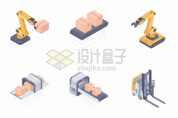 2.5D风格机械手臂和传送带上的货物以及叉车png图片免抠矢量素材
