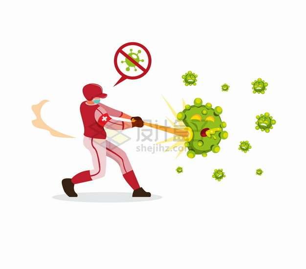 棒球运动员用球棍击打新型冠状病毒png图片素材