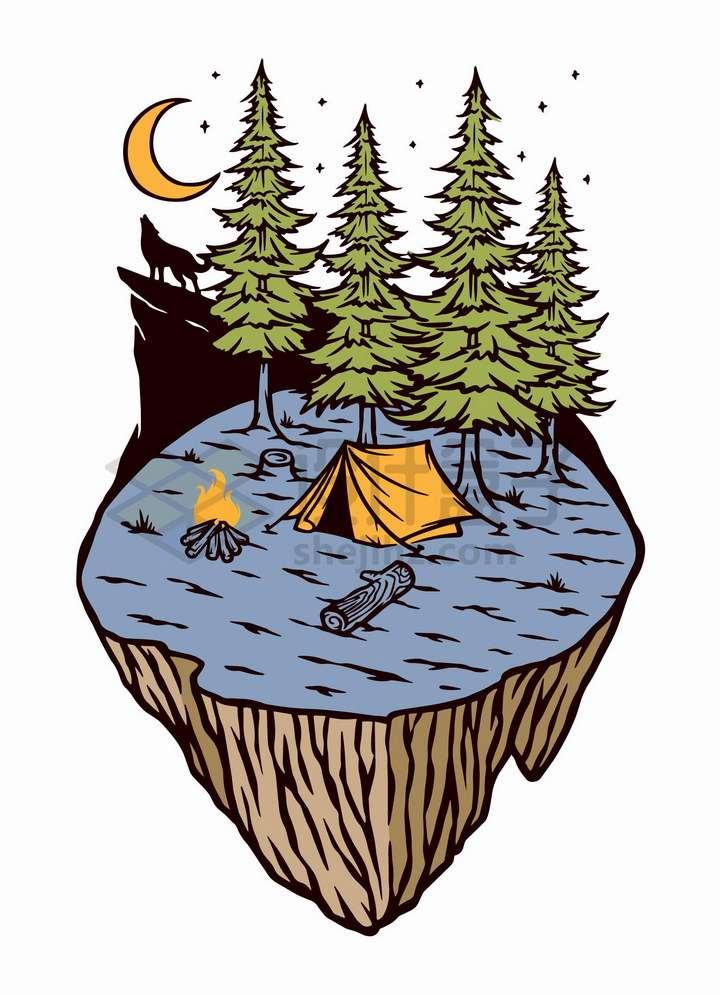 抽象悬空岛上的森林高山狼嚎帐篷和篝火手绘插画png图片免抠矢量素材