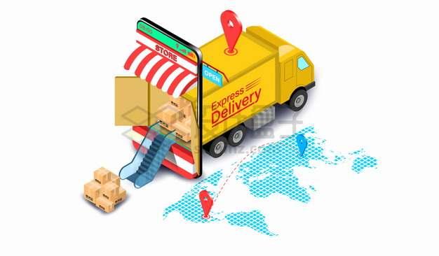 2.5D风格黄色卡车送货快递物流行业png图片素材