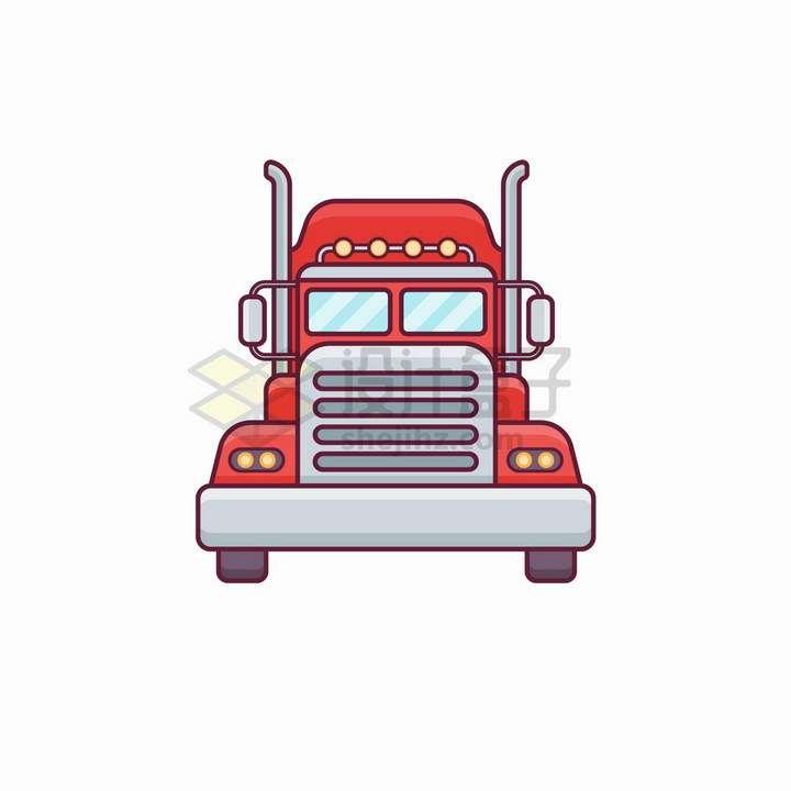 MBE风格红色卡车头正面图png图片免抠矢量素材