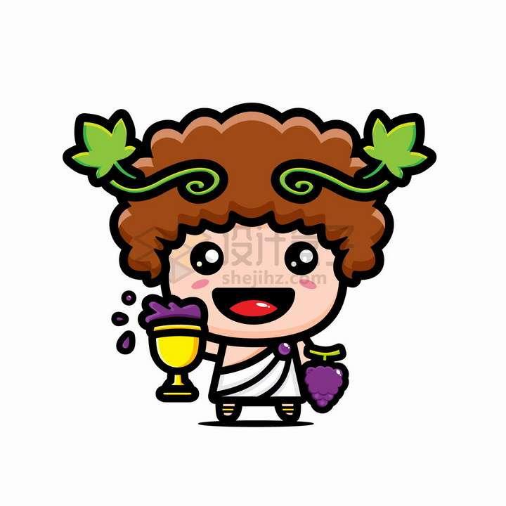 可爱的卡通喝葡萄酒的希腊神话神仙png图片免抠矢量素材