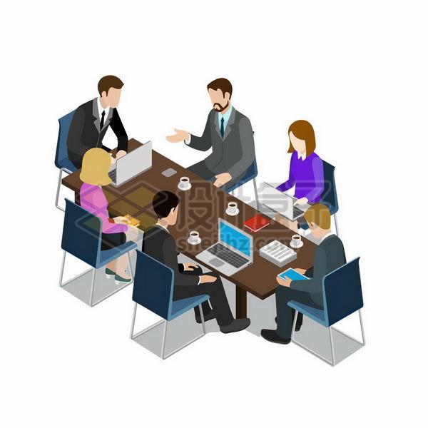 2.5D风格围坐在会议桌前开会的商务人士png图片免抠矢量素材 商务职场-第1张