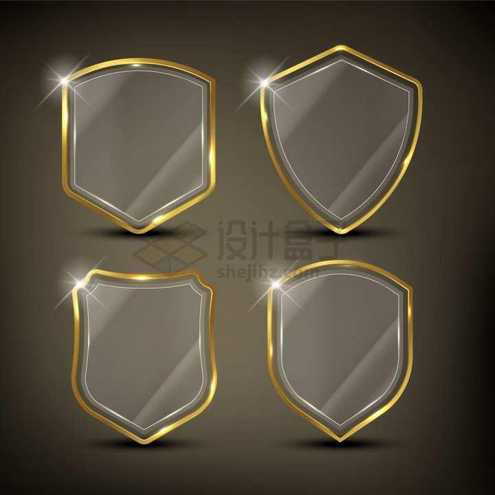 4款金色金属边框的半透明玻璃防护盾牌png图片素材