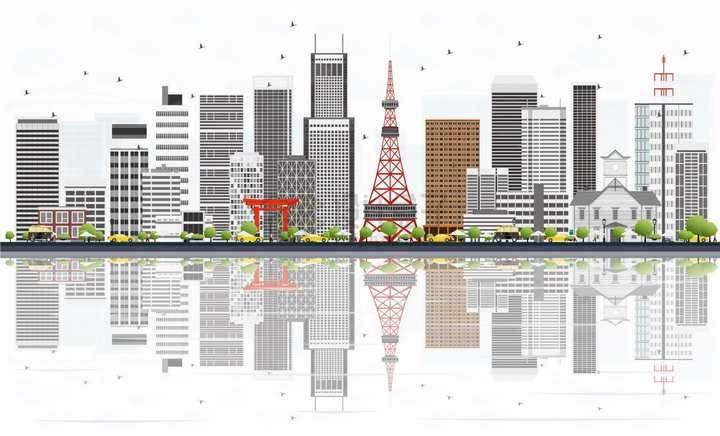 日本札幌城市天际线png图片素材