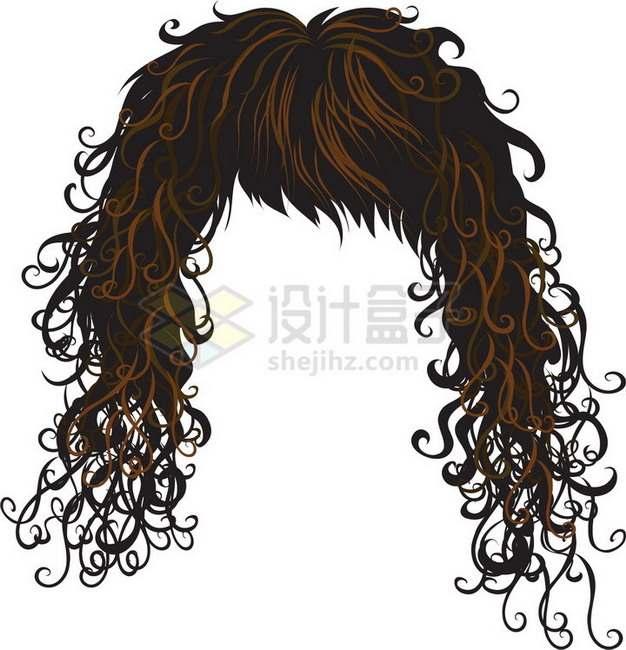 亚麻色女性卷发造型发型png免抠图片素材