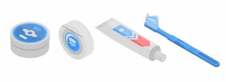 2.5D风格牙膏和牙刷png图片免抠矢量素材