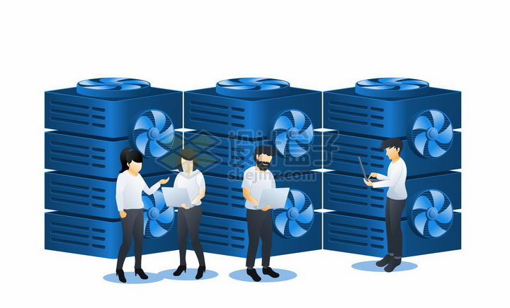 蓝色扁平插画风格在云计算中心查看数据png图片免抠矢量素材 IT科技-第1张