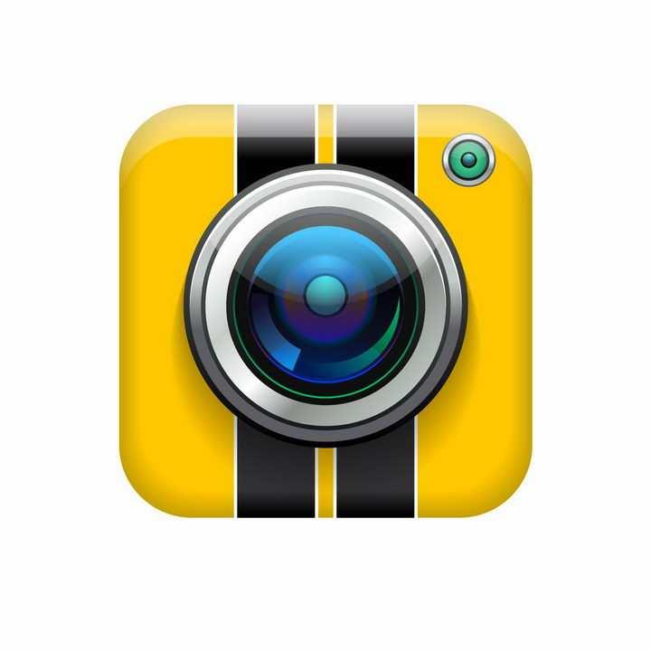 一款黄色的照相机摄像头镜头APP图标png图片免抠矢量素材