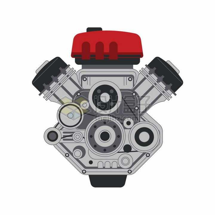 红色引擎盖子的汽车发动机侧面图png图片素材