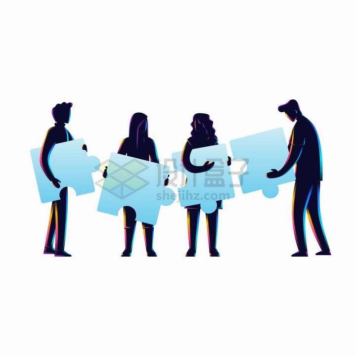 商务人士剪影抱着拼图象征了团队合作png图片免抠矢量素材