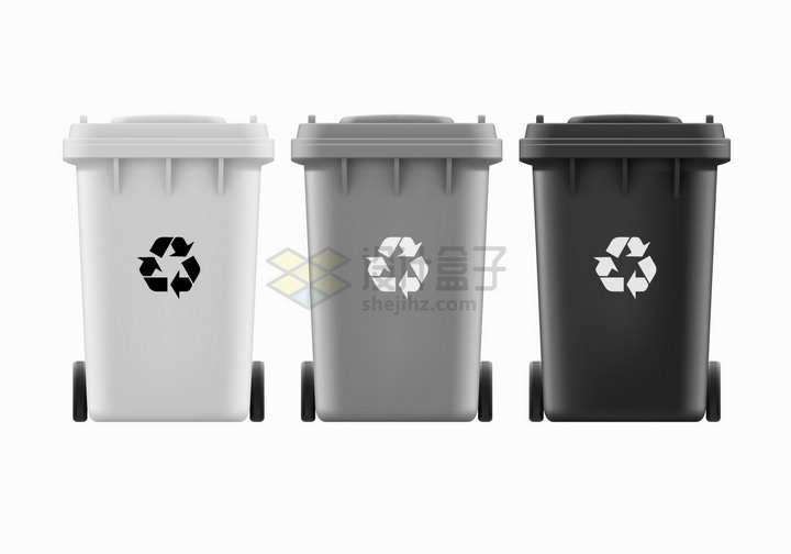 白色灰色黑色垃圾桶垃圾分类png图片素材