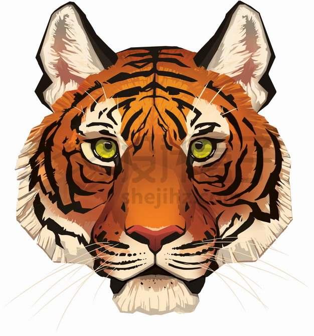 老虎头彩绘插画png图片素材