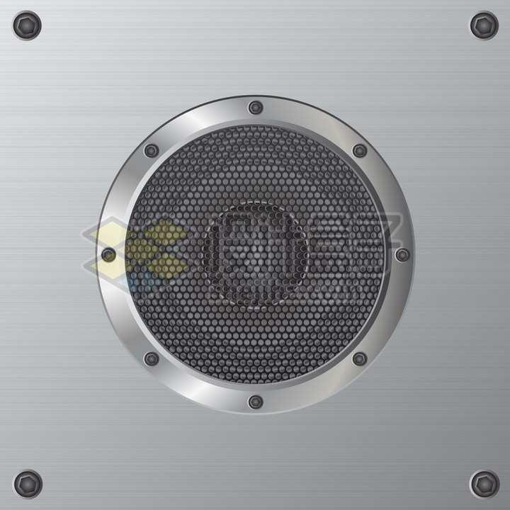 逼真的不锈钢扬声器png图片素材