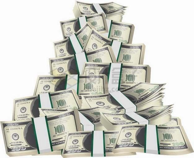 一沓一沓的美元钞票纸币堆成小山png图片素材