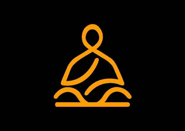 创意线条打坐的和尚佛祖png图片素材