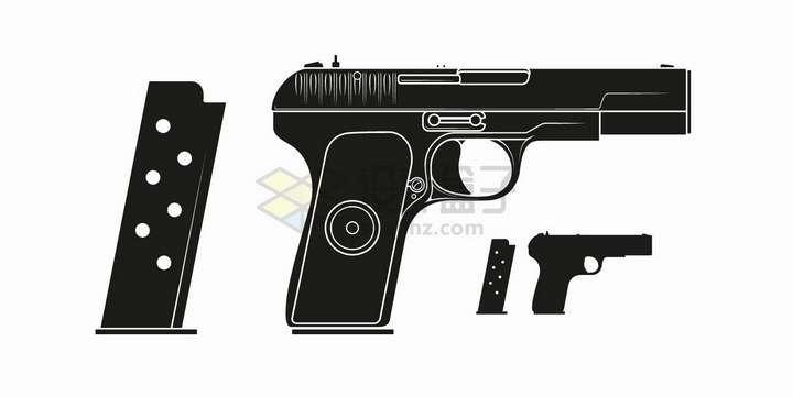 白色线条手枪和弹夹剪影轻武器png图片免抠矢量素材