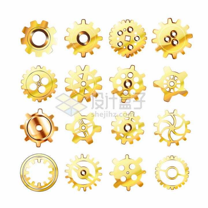 16款金色光泽的金属齿轮机械png图片素材