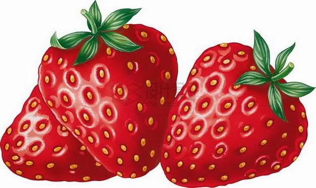 3颗牛奶草莓png图片素材