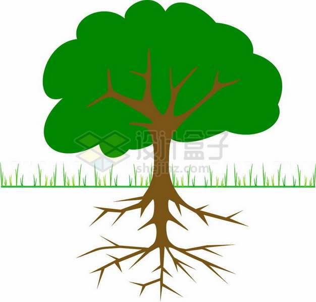 卡通草地带树根的大树png免抠图片素材