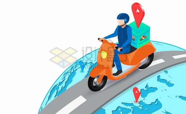 卡通快递员外卖小哥骑电动车行走在蓝色地球表面上抽象插画png图片素材