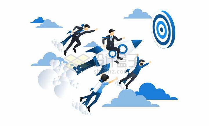 蓝色扁平插画风格乘着火箭瞄准目标靶子的商务人士png图片免抠矢量素材