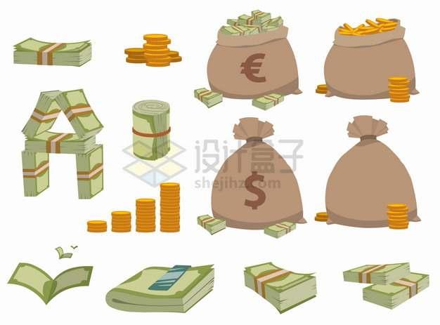 欧元钞票美元钞票钱袋子一沓钞票png图片素材