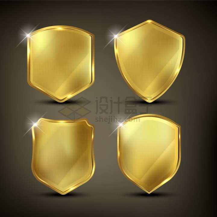 4款金属色黄金防护盾牌png图片素材