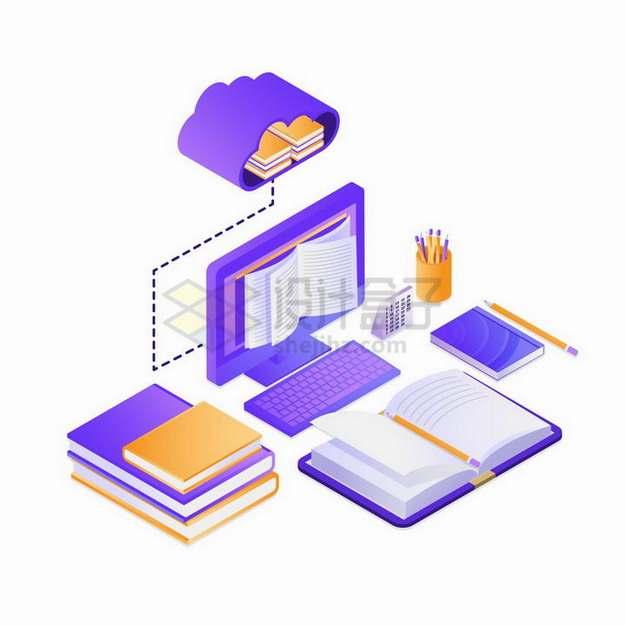 紫色2.5D风格电脑显示的书本象征了远程教学在线网络授课png图片免抠矢量素材