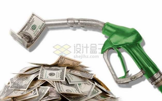 绿色加油枪吐出美元钞票png图片素材