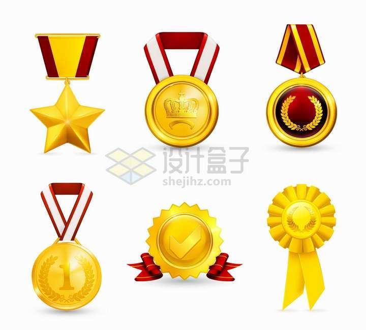 6款金黄色勋章徽章金牌奖牌png图片素材