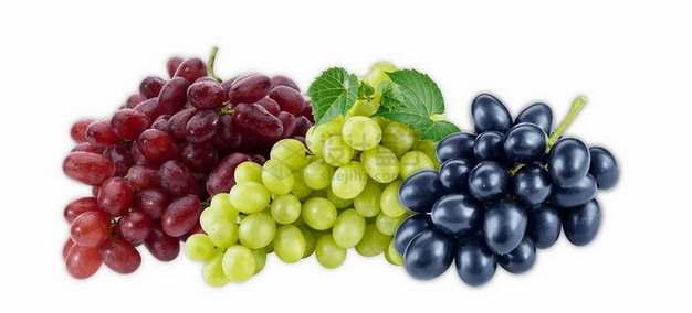 3串红提青提和黑提葡萄png图片素材