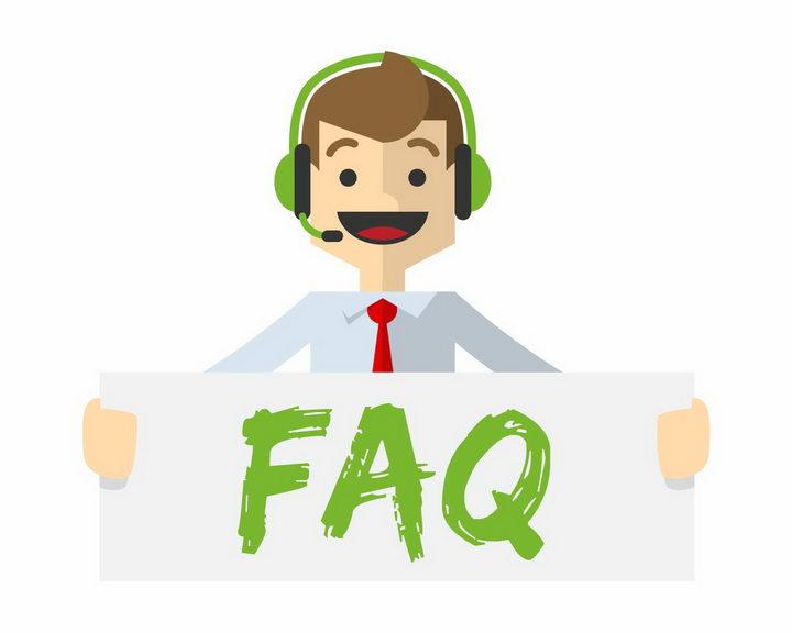 扁平化风格拿着FAQ标语的客服人员png图片免抠矢量素材 商务职场-第1张