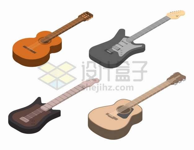 4款2.5D风格吉他音乐乐器png图片素材