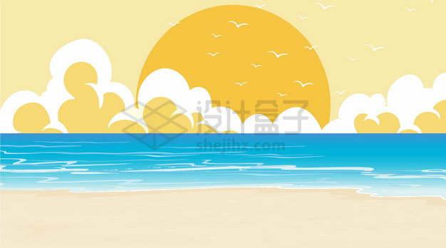大大的黄色太阳大海和沙滩卡通插画png图片素材