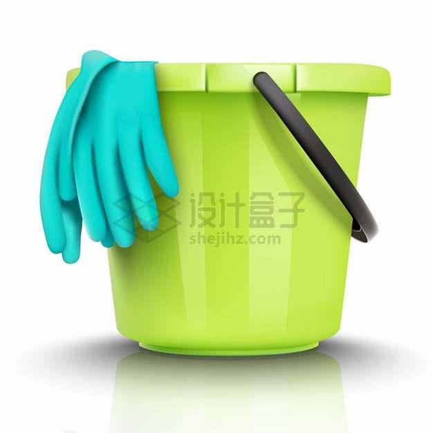 绿色的水桶和橡胶手套清洁手套png图片素材