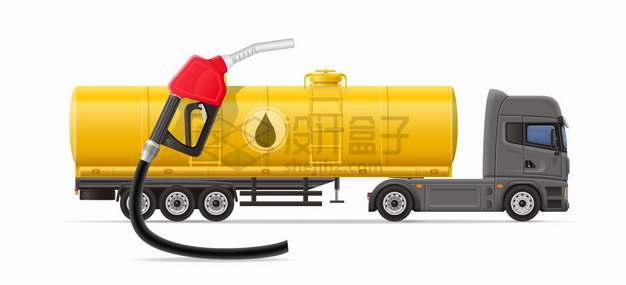 黄色半挂卡车油罐车和加油枪png图片素材