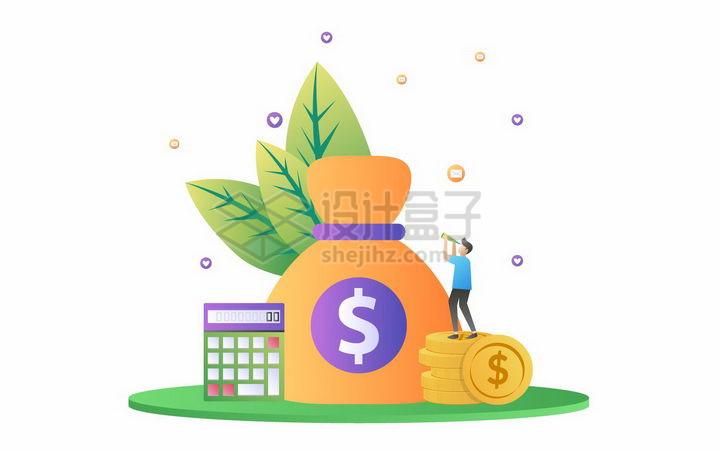 扁平插画风格钱袋子计算器和金币png图片免抠矢量素材 金融理财-第1张
