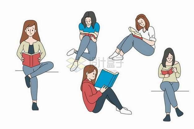 5款坐在地上看书读书的年轻女孩png图片免抠矢量素材