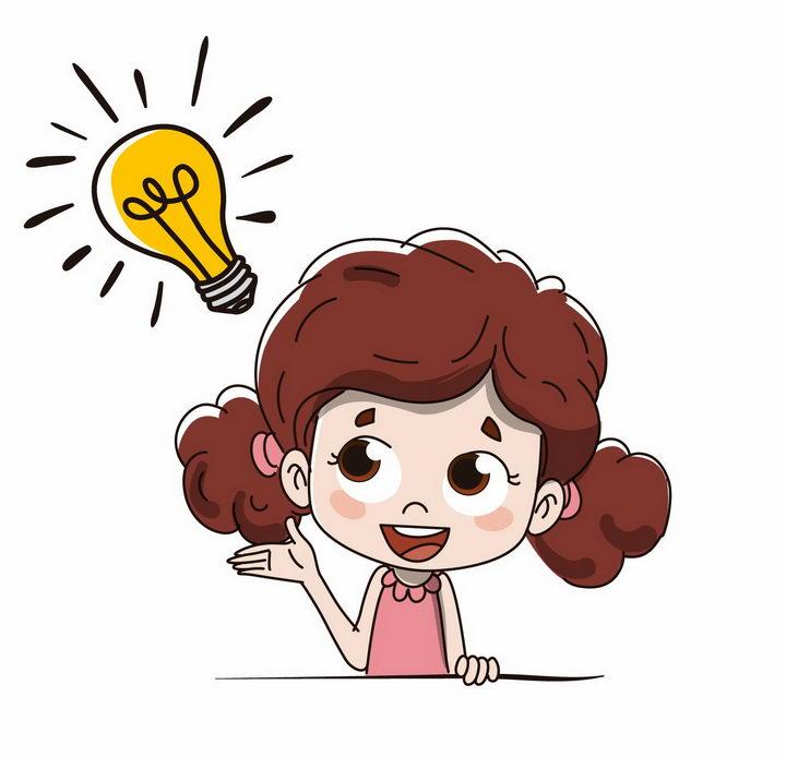 卡通手绘女孩产生了一个创意点子电灯泡png图片免抠矢量素材 人物素材-第1张