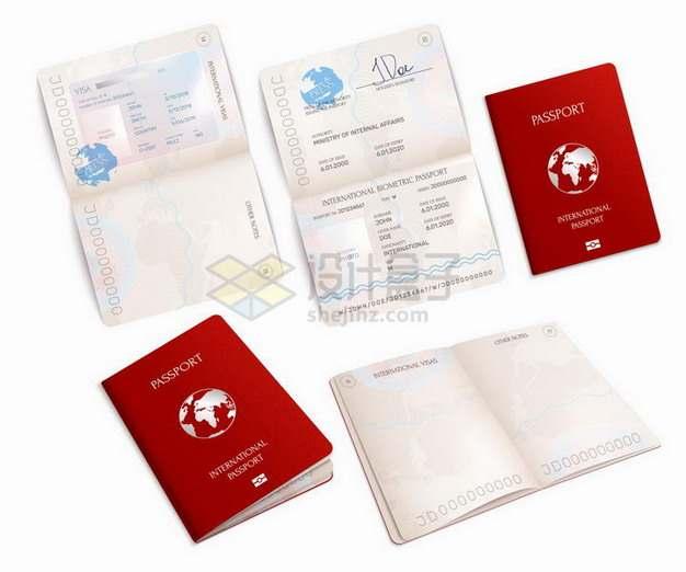 各种打开的红色护照png图片免抠矢量素材