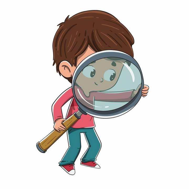 拿着放大镜的卡通小男孩png图片免抠矢量素材